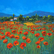 Tuscan Posters - Poppyfield Poster by Chris Mc Morrow