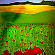 Sunshine Mixed Media Framed Prints - Poppyfield Framed Print by Jan Steadman-Jackson