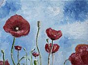 Poppies Field Painting Originals - Poppysky by Nancy Van den Boom