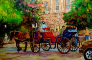 Horse And Buggy Painting Posters - Popular Quebec Artists Carole Spandau Painter Of Scenes De Rue Montreal Street Scenes Poster by Carole Spandau