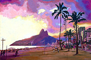 Palm Trees Paintings - Por do Sol by Douglas Simonson
