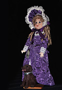 Purple Dress Posters - Porcelain Doll - Full View with Puppy Poster by Kaye Menner
