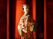Chinese Woman Framed Prints - Porcelain Figure Framed Print by Geoffrey C Lewis