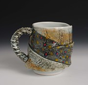 Fly Fishing Ceramics - Porcelain Fish Mug by Mark Chuck