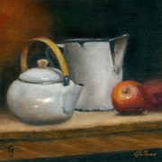 Porcelain Paintings - Porcelain pots with apples by Gloria Jean