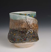 Porcelain. Wildlife Ceramics - Porcelain Wood Fired Fish Yunomi  by Mark Chuck