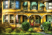 Realty Posters - Porch - Cranford NJ - A Yellow Classic  Poster by Mike Savad