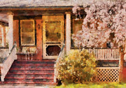 Stoop Framed Prints - Porch - Cranford NJ - Pretty in Pink Framed Print by Mike Savad