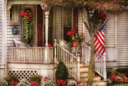 American Flag Photo Prints - Porch - Americana Print by Mike Savad