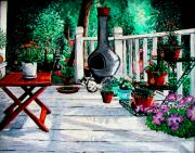 North Carolina Paintings - Porch Cat Sleeps by Laura Brightwood