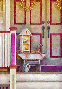 Pink White Framed Prints - Porch - Cranford NJ - The birdhouse collector Framed Print by Mike Savad