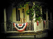 4th July Photo Framed Prints - Porch Flag Framed Print by Michael L Kimble