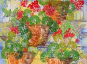 Red Geraniums Mixed Media Prints - Porch Flowers Print by Edith Hardaway