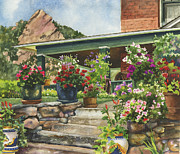 Steps Painting Originals - Porch Garden by Anne Gifford