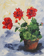 Red Geranium Posters - Porch Geraniums Poster by Torrie Smiley