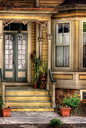 Curtains Framed Prints - Porch - House 109 Framed Print by Mike Savad