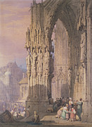Standing Painting Framed Prints - Porch of Regensburg Cathedral Framed Print by Samuel Prout