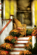 Yellow House Posters - Porch - Westifeld NJ - In the light of Autumn Poster by Mike Savad