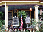 Flag Prints - Porch With Bird Cages Print by Susan Savad