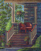 Hanging Baskets Paintings - Porch with Red Wicker Chairs by Susan Savad