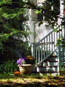 Houses Art - Porch With Urn and Pumpkin by Susan Savad