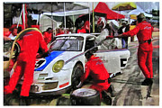 Auto Racing Posters - Porche Pit Crew Poster by Tom Griffithe
