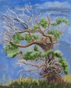 Cottonwood Paintings - Porcupine in Cottonwood by Dawn Senior-Trask