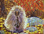 Mountains Pastels Prints - Porcupine on the Trail Print by Harriet Peck Taylor
