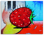 Abstract Expression Paintings - Porcupine Strawberry by Snake Jagger