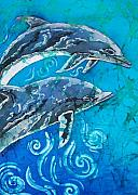 Water  Tapestries - Textiles Metal Prints - Porpoise Pair - Close Up Metal Print by Sue Duda