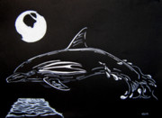 Porpoise Drawings Originals - Porpoise Sillhouette by Mayhem Mediums