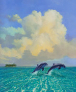Key West Mixed Media - Porpoiseful Play by David  Van Hulst