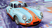 Vintage Mixed Media Metal Prints - Porsche 356 Gulf Metal Print by Yuriy  Shevchuk