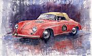 Racing Painting Framed Prints - Porsche 356 Speedster Mille Miglia Framed Print by Yuriy  Shevchuk