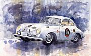 Watercolour Painting Metal Prints - Porsche 356 Speedster Metal Print by Yuriy  Shevchuk