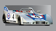 Martini Framed Prints - Porsche 908-3 Martini Framed Print by Alain Jamar