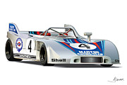 Automotive Illustration Framed Prints - Porsche 908 Martini Framed Print by Alain Jamar