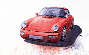 Classic Paintings - Porsche 911 Carrera 2 1990 by Yuriy  Shevchuk