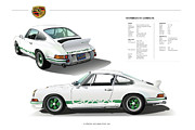 Club Digital Art Posters - Porsche 911 Carrera RS poster Poster by Alain Jamar