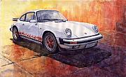 Vintage Cars Framed Prints - Porsche 911 Carrera Framed Print by Yuriy  Shevchuk