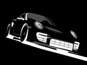 Vehicle Posters - Porsche 911 GT2 Night Poster by Michael Tompsett