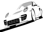Vehicle Posters - Porsche 911 GT2 White Poster by Michael Tompsett