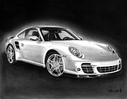 Charcoal Drawings Metal Prints - Porsche 911 Turbo    Metal Print by Peter Piatt