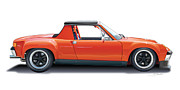 Automotive Illustration Framed Prints - Porsche 914-6 GT Framed Print by Alain Jamar