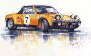 Sports Prints - Porsche 914-6 GT Rally Print by Yuriy  Shevchuk