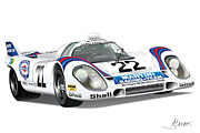 Automotive Illustration Framed Prints - Porsche 917 Framed Print by Alain Jamar