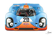 Automotive Illustration Posters - Porsche 917 Gulf On White Poster by Alain Jamar