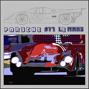 Indy Car Framed Prints - Porsche 917 LeMans Winner Layout Framed Print by Curt Johnson