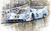 1971 Framed Prints - Porsche 917 LH 24 Le Mans 1971 Rodriguez Oliver Framed Print by Yuriy  Shevchuk