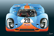 Car Prints Digital Art Posters - Porsche 917k Kurzneck Poster by Alain Jamar